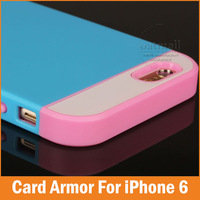 New 2015 Rubber Hybrid Armor for apple iphone 6 case 4.7 inch With Card Slot For iphone6 covers Tough Defender mobile phone bags