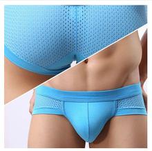 Freeshipping! 2014 Fashion Short Triangle mesh underwear men's modal Briefs Men's Underwear Underwear  Shorts(China (Mainland))