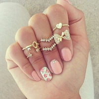 Gold plated crystal midi 6pcs set stacking rings fashion lovely bowknot women ring jewelry