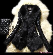 venda quente novo inverno 2014 imitação casaco de pele de vison imitação slim manga longa mulheres jaquetas de couro de carneiro peles artificiais outerwear(China (Mainland))