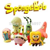 6pcs/set SpongeBob Plush Toys Kids Cartoon Movie Characters Christmas Birthday Gift Toys Stuffed & Plush Animals