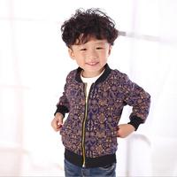 Fashion Retro Print Boys Jackets:Cotton Long Sleeve Fashion Pattern Baby Boy Clothing Autumn Jacket Hot Sale Children Outerwear