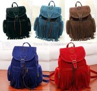 5 Colors Suede Leather Vintage Hollow &Tassel Design Drawstring Casual Backpack Women Compute Bag School Bags mochila feminina