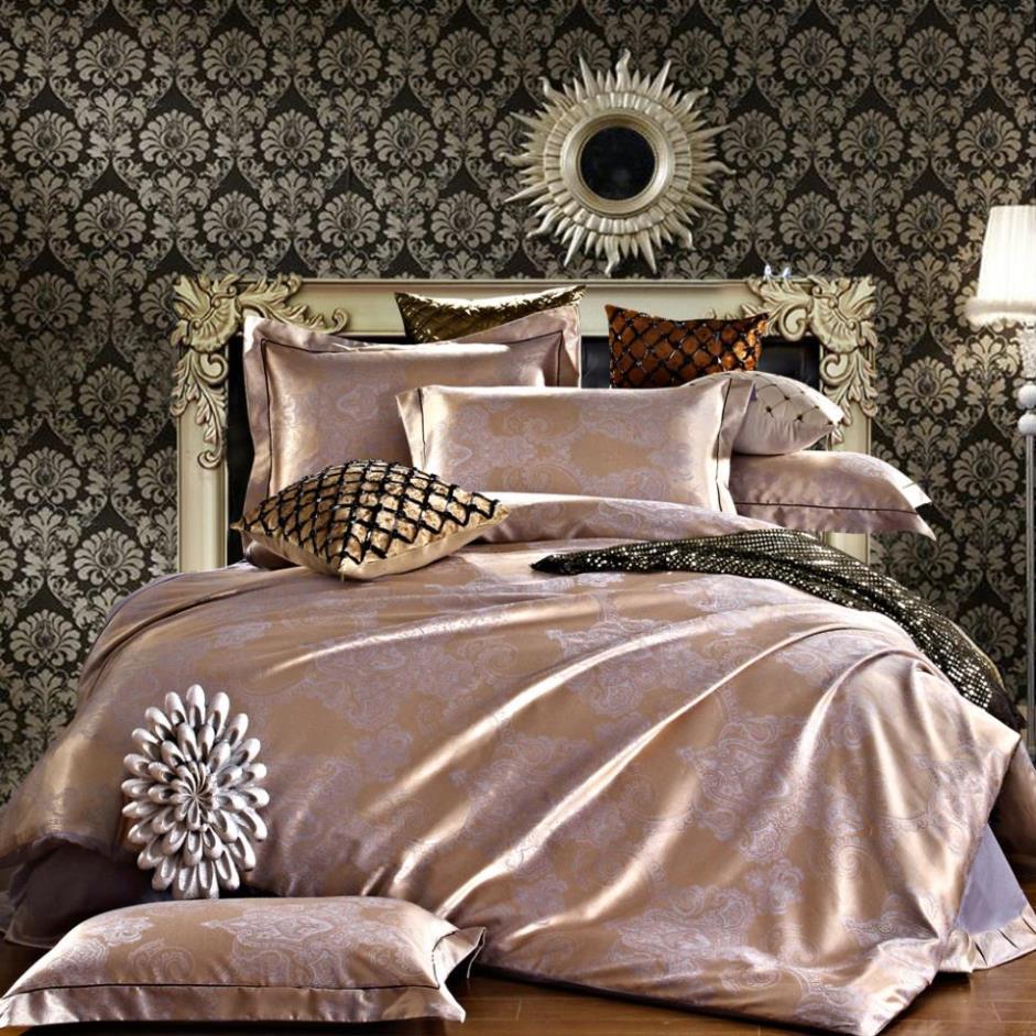 Branco luxo tributo cetim de seda jacquard conjuntos de cama Noble palácio cama conjuntos de roupa de cama lençóis duvet cover lençol #62(China (Mainland))