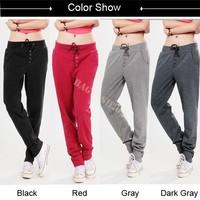 New Arrival Women's Harem Pants Cotton Sweatpants Straight Sports Pants Casual Hip-Hop Pants Red Gray New 2014 SV16 CB029034