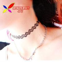 2014 New Tattoo Choker Necklace Fashion Hot Black Spiral Fishing Line Elastic designer False Collar for woman bijoux wholesale
