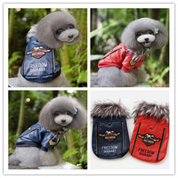 High-grade Fashion Leather Jacket For Dogs Winter Warm Fur Collar Coat Puppy Vest Pet Clothes Apparel S-XXL Free Shipping