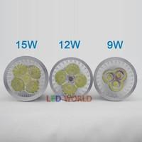 High Power led light GU10 E27 B22 E14 MR16 GU5.3  9W/12W/15W Spotlight Lamp 4 CREE LED12V Light Bulb Downlight 1pcs