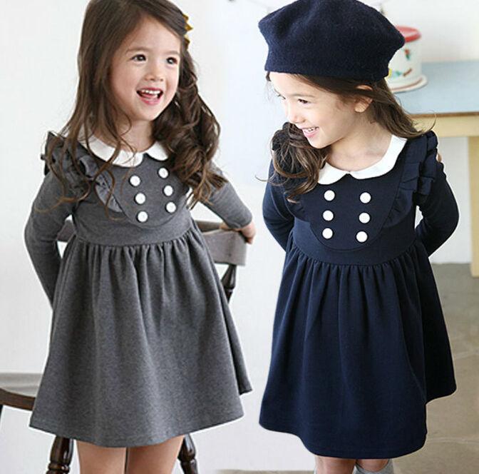 Atacado 5 pçs/lote novo estilo Preppy 6 botões de manga comprida vestido da menina crianças algodão blusa vestido da menina traje marinha cinza(China (Mainland))