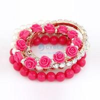 European and American bracelets bangles fashion sweet mix beads flowers temperament Stretch Bracelet SV15 18992