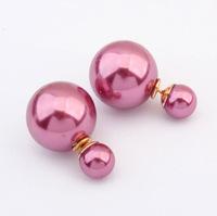 New 2014 hot sale Double pearl stud earrings for women free shipping  B1.8 E350