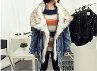 women winter brand jacket 2014 fashion korea style loose outwear warm jackets for women cotton patchwork jeans coat Y10458