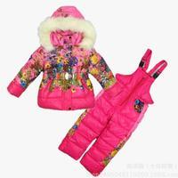 2014 New Children's Winter Clothing Set baby girl Ski Suit Windproof Print Warm Coats Fur Jackets+Bib Pants girls sports suit