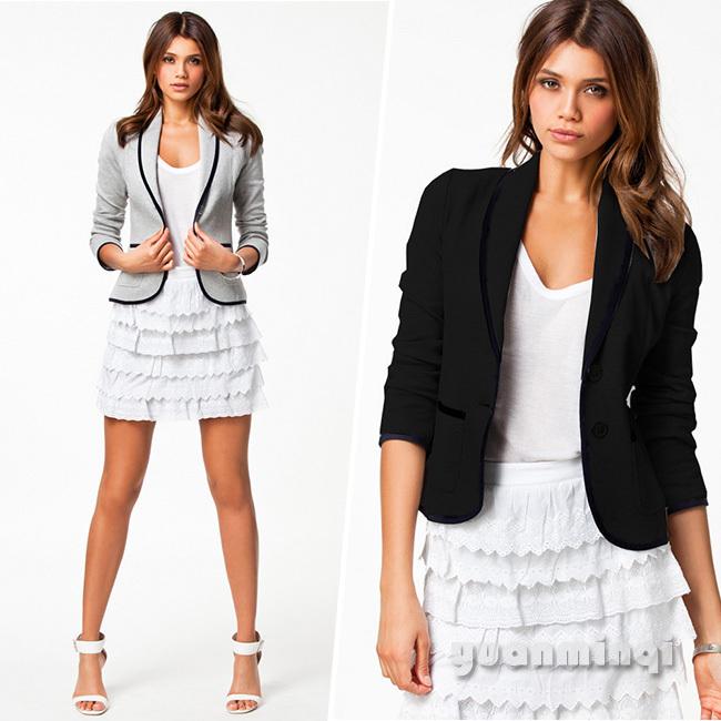 Мода женщин пиджак Feminino отложным воротником тонкий одной кнопки короткий пиджак пиджак кардиганы серый черный бесплатная доставка 1532