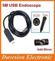 Free Shipping 7mm Lens USB Endoscope 6 LED IP67 Waterproof tool Camera Endoscope 5M inspection borescope with Mini Camera Mirror