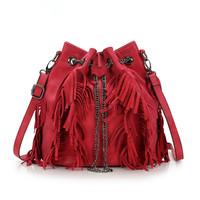 free shipping Fashion Women Suede Leather tassel drawstring bucket messenger shoulder bag retro fringed chain red hot  handbag