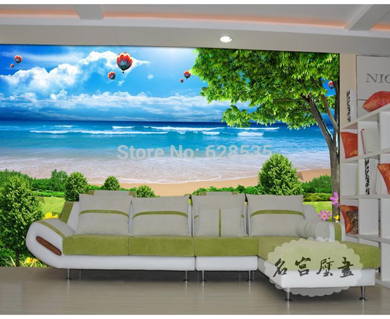 green material kid's room/living room/bed room/TV setting wall photo wallpaper grass and sea papel de parede 3D wallpaper mural(China (Mainland))
