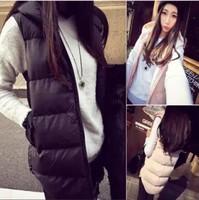2015 NEW Fashion Autumn Winter Coat Women Ladies Sleeveless Hooded Cotton Vest Women's Coat Vest Waistcoat Black White Pink