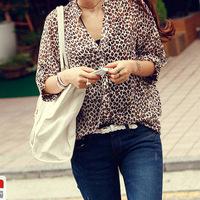 Lady Stand Collar  Chiffon 3/4 Sleeve Leopard Loose Base Lapel Cardigan T-Shirt