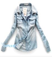 Hot sale 2014 Autumn and winter European women jeans shirt lady's elegant quality slim blouse fashion denim blouse