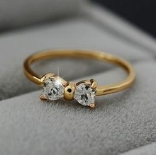 CZ Diamond rings Gold Plated finger Bow ring wedding engagement Zircon Crystal Rings jewelry wholesale B9