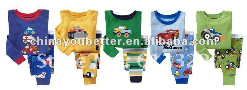 Long sleeve o-neck car pattern 100% cotton baby sleepwear, baby pajamas(China (Mainland))