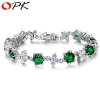 OPK Brand Luxury Green / Purple Zircon Simulated Diamond Bracelets for Women Platinum Plated  Elegant Banquet Jewelry