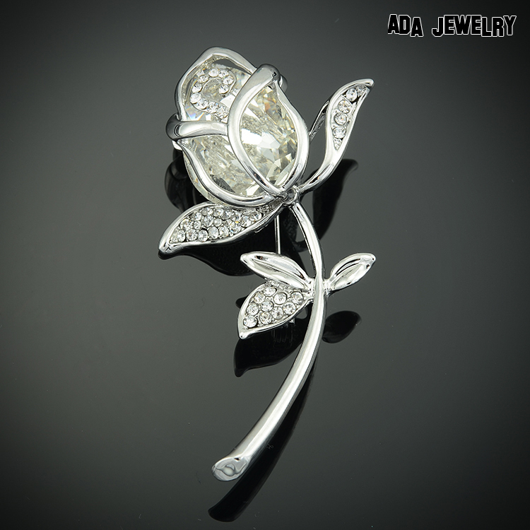 2015 Hot Selling 100 High Quality Real Gold Plated Romantic Rose Brooches Jewelry Luxury Crystal Brooch