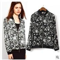 2014 Bomber Jacket Women brand O-neck womens Jackets Full Sleeve College Floral Jacket Fashion