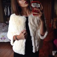 2014 New Rabbit Fur Coat Genuine Fur Fashion Brand Coat Raccoon Decoration Women Outwear Coats Jacket 6XL size Free Shipping