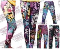 Drop Shipping Retail Girls Monster.high Monster high Print Pencil Pants Kids Clothes Leggings Children Clothing Capris Can