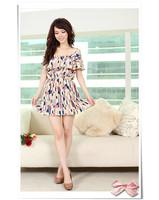 New 2014 Summer Cute Women Geometric Print Ruffled Collar Mini Dress Vestidos, Pink, Yellow, Size Free
