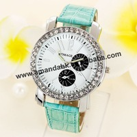 100pcs/lot WOMAGE-9346 Crystal Dial For Women Dress Watch Steel Case Ladies Quartz Watches Womage Casual Analog Wristwatches