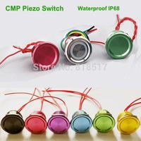 Free Shipping 40PCS Waterproof IP68 12V Illuminated Piezo Switch(same like push button Switch ) ,5-24v Led Anti Vandal Switch