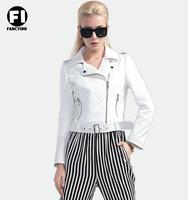 Fancyinn 2014 Brand New Winter Stree Slim Zipper Motorcycle White High Quality PU Women Jacket