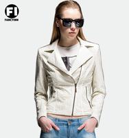 Fancyinn 2014 Fashion Autumn Winter Women Brand Faux Soft Leather Jackets Pu Black Blazer Zippers Long Sleeve Motorcycle Coat