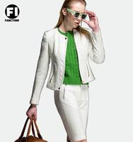 Fancyinn High Street Locomotive Suit Lady New Autumn Turn-down Collar PU Jacket Zipper Pocket Women Fashion Slim Coat Stock