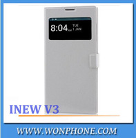 Free shipping Original iNEW V3 flip Leather Case with free screen protector- Original S-View Case for iNEW V3