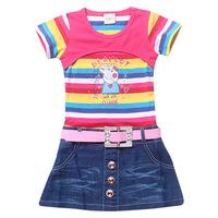 Girls Shirt Dress Summer Children Clothe Fit4-10Yrs Kids T Shirt My Little Pony Short Sleeve O-Neck Cotton 2014 High Quailty 810