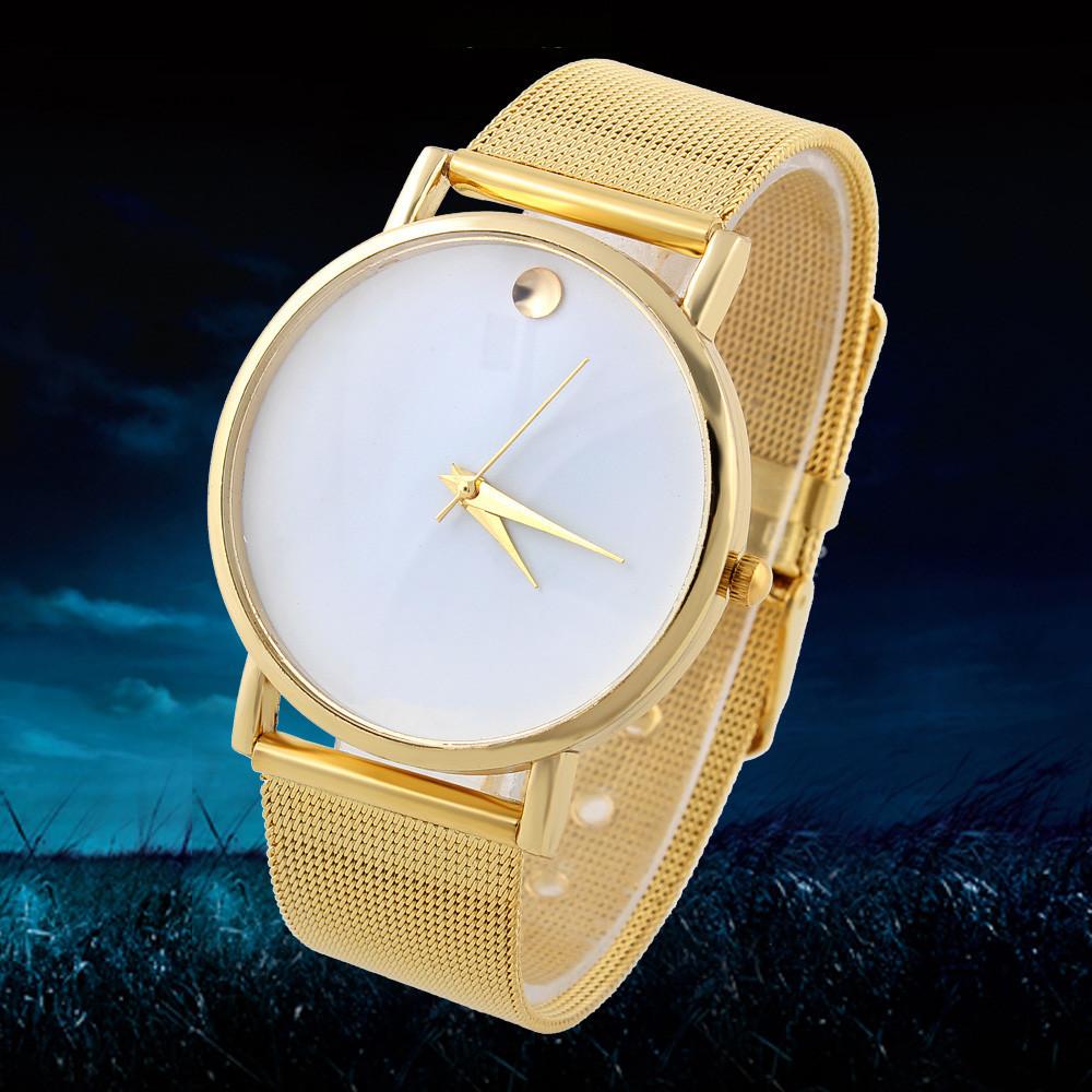Men Business Quartz Watch Gold Case Analog Fashion Casual Wristwatch Analog
