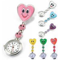 Smile Face Nurse Clip Watch Pocket Sweetheart Fob Brooch Quartz Clasp Watch Sugar Color ZMPJ282#m4
