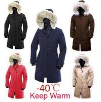 2014 New Brand Big Raccoon Fur Winter Goose Down Jacket Women X-Long Style -40 Degree Warm Duck Down Coat Plus Size Parka K6