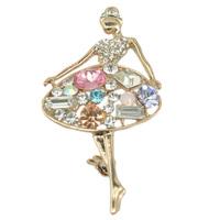 Fashion Colorful Crystal Ballet Dancing Girl Brooch