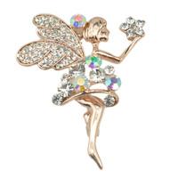 Lifelike Crystal Rhinestone Flower Elven Fairy Brooch