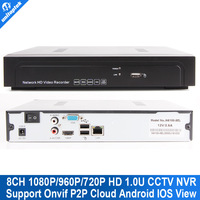 1.0u 8CH Onvif Full HD 720p/960p/1080P NVR Standalone Network Video Recorder for IP Cameras support Goolink P2P Cloud Service