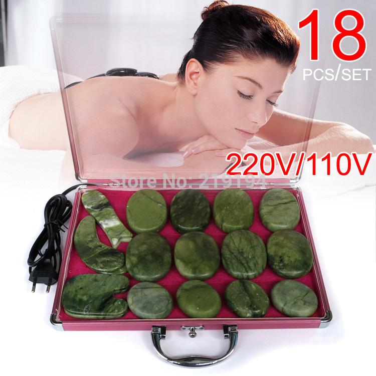 High quality 18pcs/set jade body massage hot stone face back massage plate salon SPA with heater box 220V and 110V ysgyp-nls(China (Mainland))
