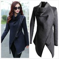 2014 utumn Winter Women Overcoat Long Zipper O-neck Full Pockets Solid Coats Fashion Stitching Asymmetrical Women's Jackets