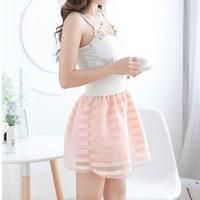 2015 summer autumn Hot Sale Fashion New Women Ladies saias femininas Pleated Floral Chiffon Short Mini Skirt WTP0119
