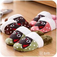 Cute cat plush warm winter indoor women slippers household soft bottom floor cotton slippers
