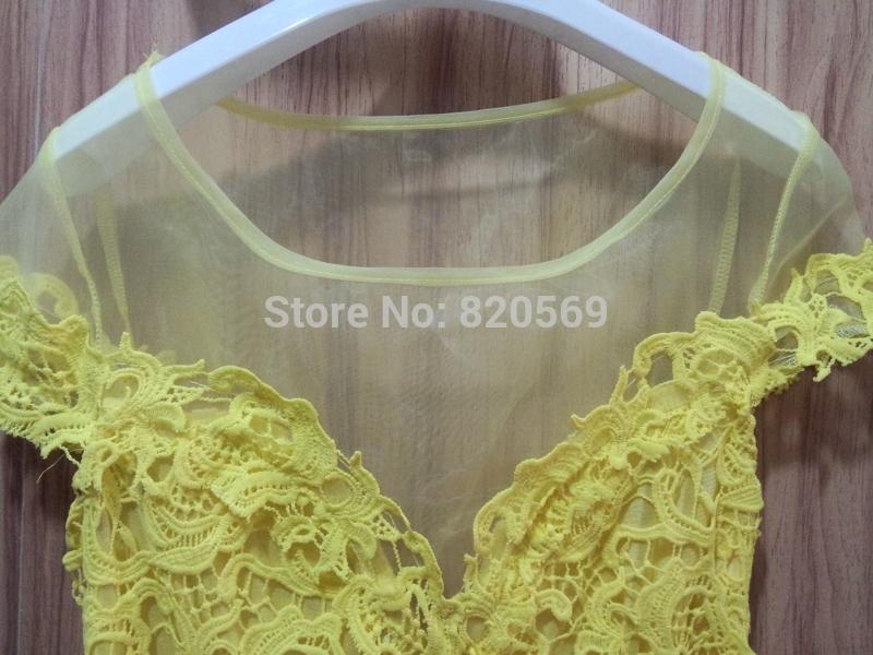 Mini Yellow Yellow Lace Mini Dress